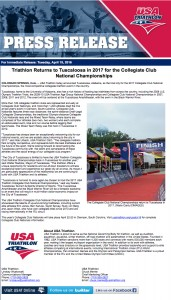 Triathlon Returns to Tuscaloosa in 2017 for the Collegiate Club National Championships