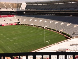 First view of the field on our Bryant-Denny Stadium tour