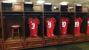 Lockers of the players set up before the game